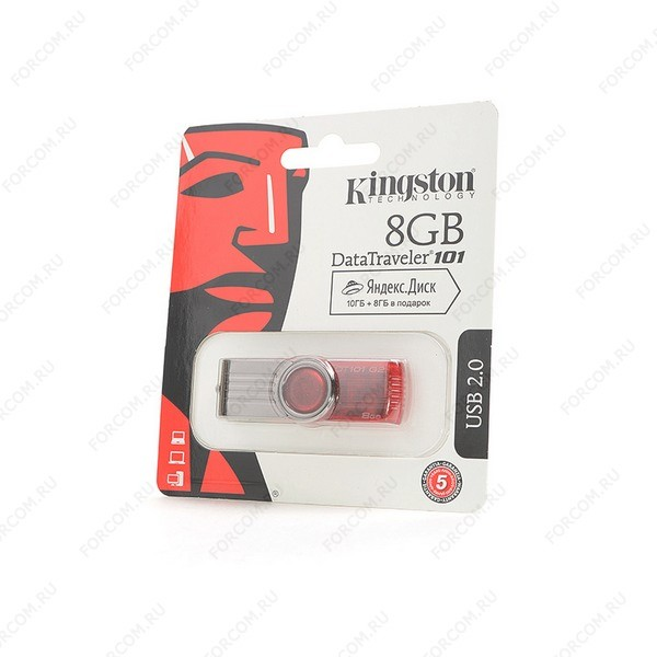 USB Flash Drive 8 Gb Kingston DataTraveler 101 G2 DT101G2/8Gb красная