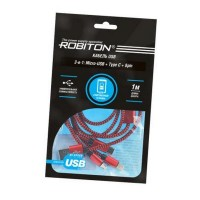 ROBITON P12 Multicord : Micro-USB + Type-C + 8pin (Lightning), 1м красный PH1 Кабель USB
