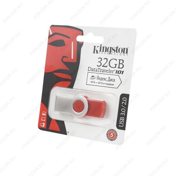 USB Flash Drive 32 Gb Kingston DataTraveler 101 G3 DT101G3/32Gb USB 3.0/2.0 красная
