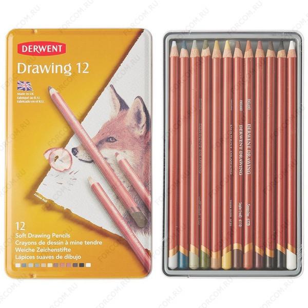 Карандаши цветные Derwent Drawing 12, набор 12 цветов в металлическом пенале (0700671)