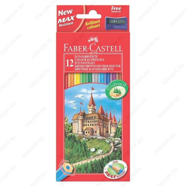 Карандаши цветные Faber Castell ECO ЗАМОК, набор 12 цветов с точилкой