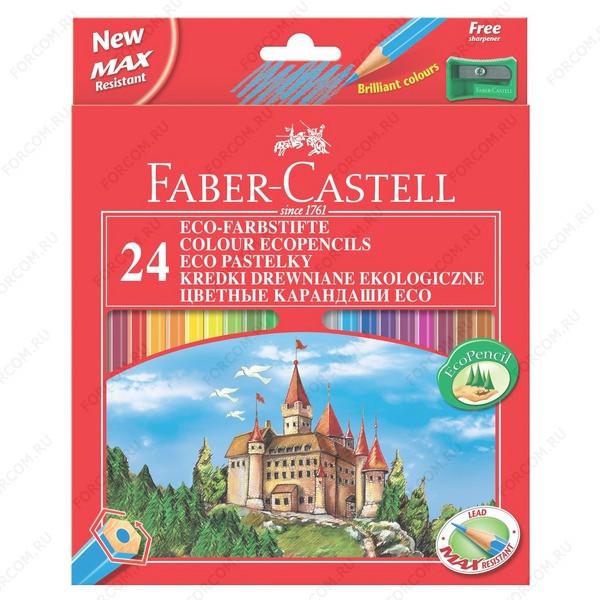 Карандаши цветные Faber Castell ECO ЗАМОК, набор 24 цвета с точилкой