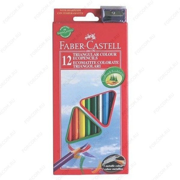 Карандаши цветные Faber Castell ECO, набор 12 цветов с точилкой