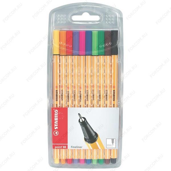 Капиллярная ручка Stabilo Point 88 0,4 мм, набор 10 цветов (8810)