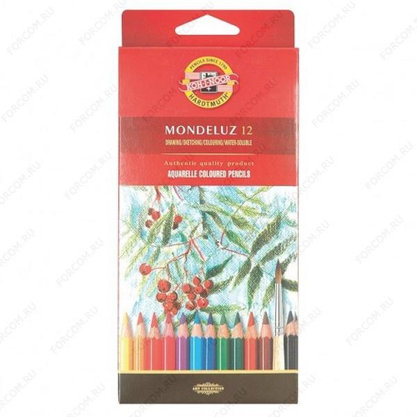 Карандаши цветные Koh-I-Noor Mondeluz 12 акварельные, набор 12 цветов