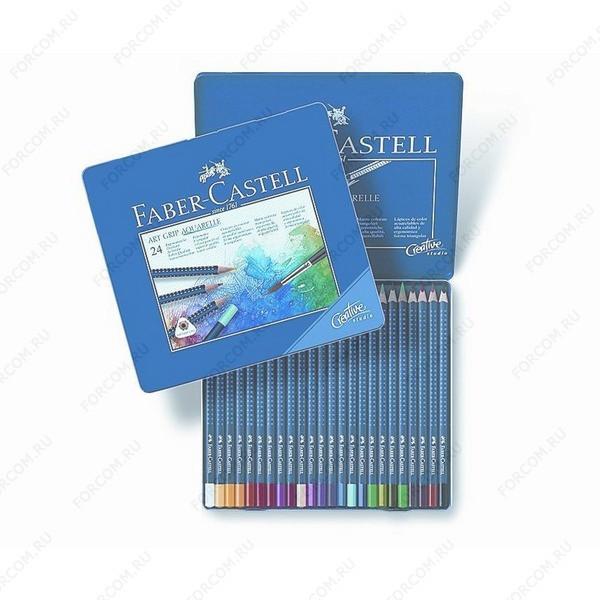 Карандаши цветные Faber-Castell Art Grip акварельные трехгранные, набор 24 цвета в металлическом пенале (114224)