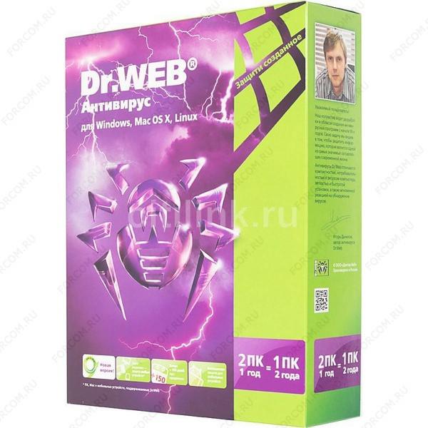Антивирус Dr. Web Лицензия на 12мес, на 2 ПК