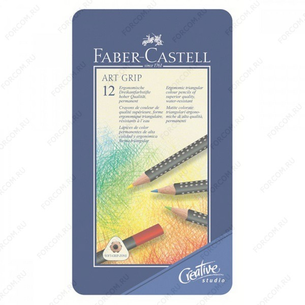Карандаши цветные Faber-Castell Art Grip трехгранные, набор 12 цветов в металлическом пенале (114224)