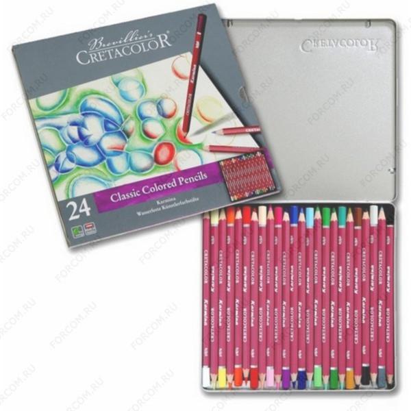 Карандаши цветные Cretacolor Karmina Classic Colored Pencils, набор 24 цвета в металлическом пенале