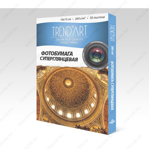 TrendArt PH260_10X15_50 Фотобумага TrendArt Premium High Glossy Inkjet 10x15см, 260г, 50 листов, покрытие RC-base