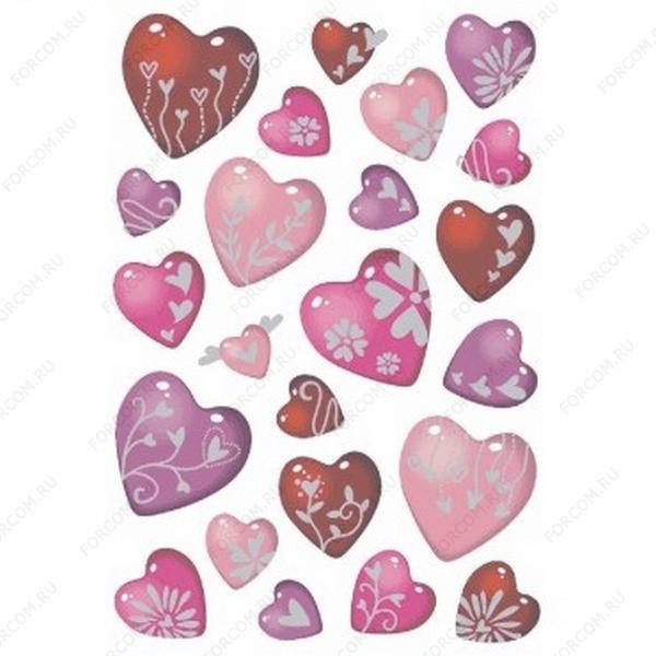 HERMA 3471 Decor Наклейки Сердца с серебр. узором