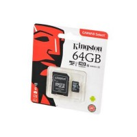 KINGSTON CANVAS Select microSD 64GB (Class 10) UHS-I с адаптером BL1 Носитель информации