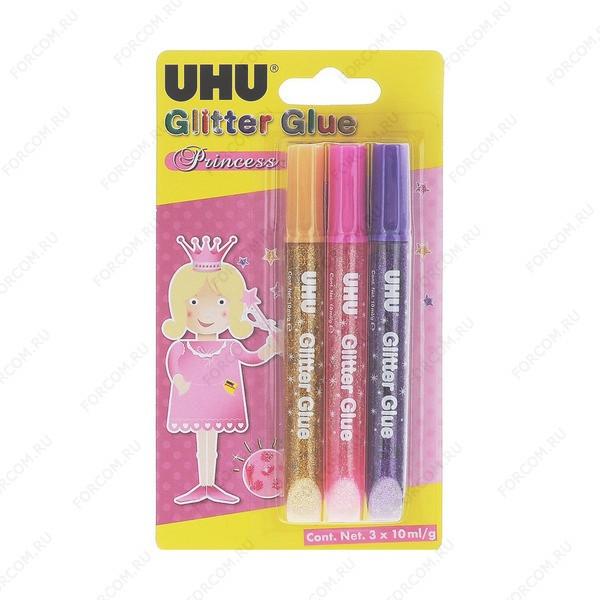 UHU 46430 Glitzerkleber Princess UHU Креатив Клеящие блестки 3*10 мл., блистер