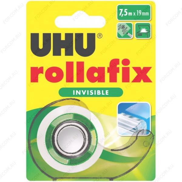 UHU 36960 Rollafix Invisible Клеящая лента невидимая 19 мм х 7,5 м., в диспенсере, блистер
