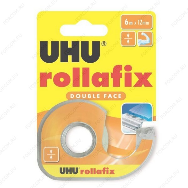 UHU 36975 Rollafix Double Face Клеящая лента двусторонняя, 12 мм х 6 м., в диспенсере, блистер