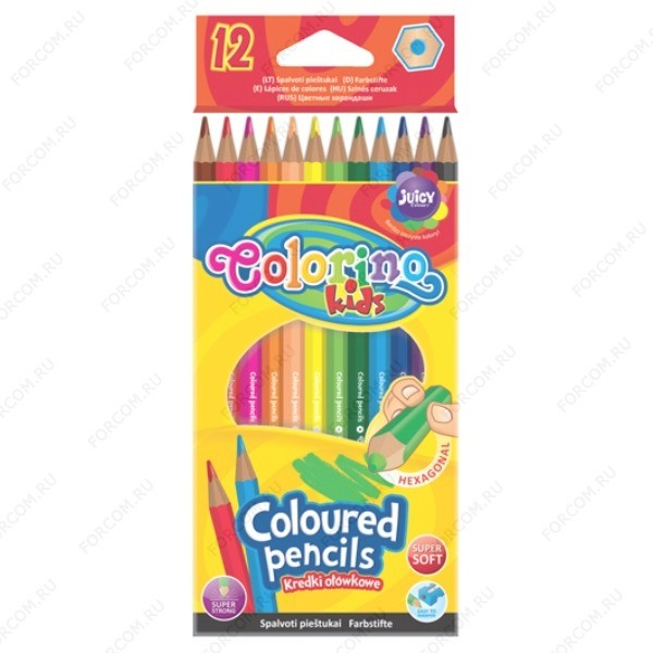 Карандаши цветные Colorino Kids, набор 12 цветов (14687PTR)