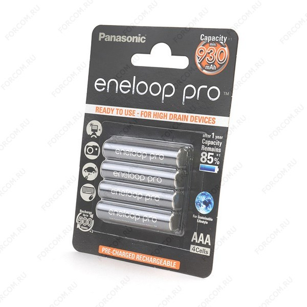 Panasonic eneloop pro BK-4HCDE/4BE 930мАч AAA BL4 Аккумулятор