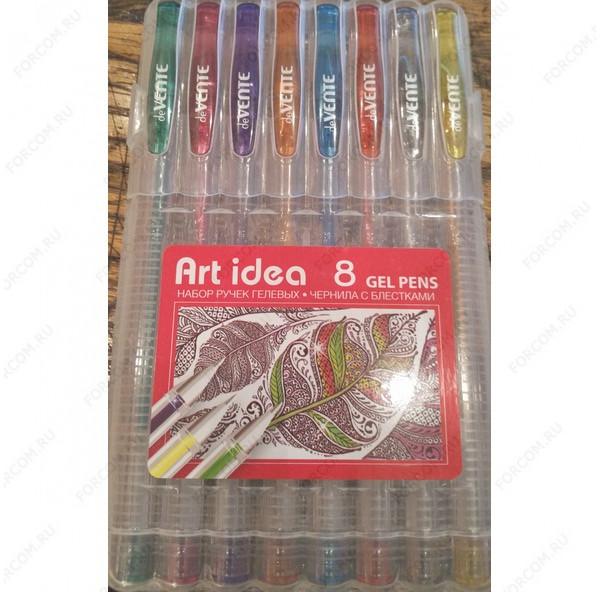 Ручка гелевая Art Idea чернила с блестками, набор 8 цветов (240453)