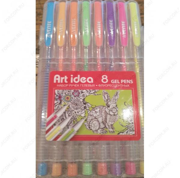 Ручка гелевая Art Idea флуоресцентные, набор 8 цветов (240457)