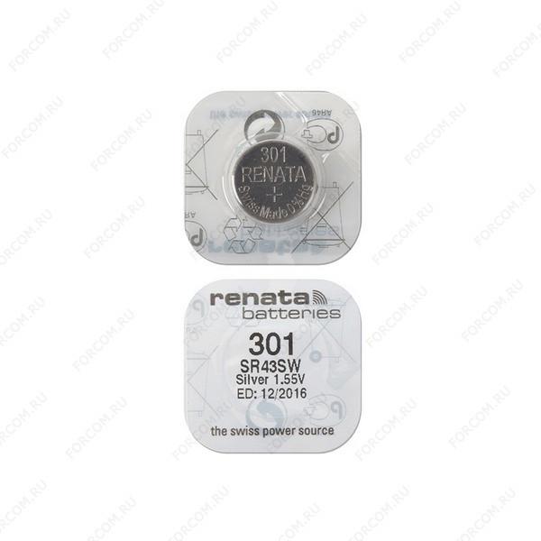 RENATA SR43SW 301, в упак 10 шт Элемент питания