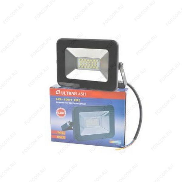 ULTRAFLASH LFL-1001 C02 светодиодный, 10Вт, 6500К, IP65 черный Прожектор