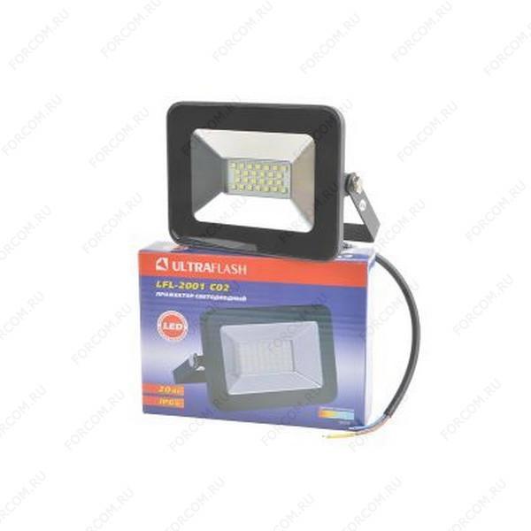 ULTRAFLASH LFL-2001 C02 светодиодный, 20Вт, 6500К, IP65 черный Прожектор
