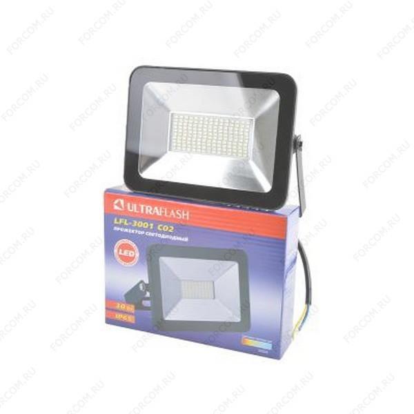 ULTRAFLASH LFL-3001 C02 светодиодный, 30Вт, 6500К, IP65 черный Прожектор