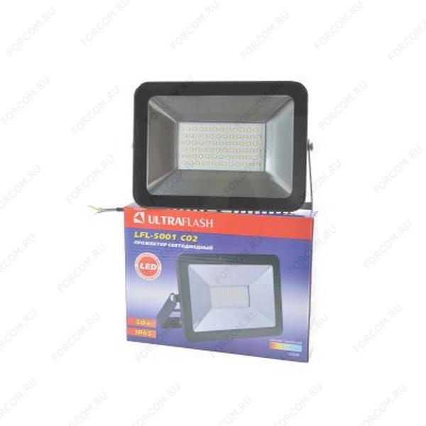 ULTRAFLASH LFL-5001 C02 светодиодный, 50Вт, 6500К, IP65 черный Прожектор