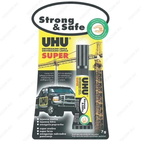 UHU 38570 Super Strong & Safe Клей Стронг Энд Сейф, 7 гр., Эксклюзивный продукт: гель, без запаха, без растворителей, с возможностью