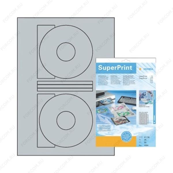 HERMA 4094 Этикетки для CD-дисков полиэстровые A4 размер O 116 мм цвет Серебристый для печати на лазерном принтере, копире