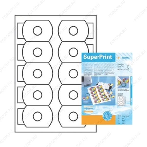 HERMA 8626 Этикетки для CD-визитных карт бумажные A4 размер 78.0 x 54.5 цвет Белый для печати на струйном или лазерном принтере, копире