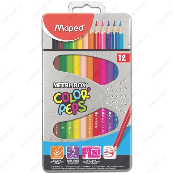 Карандаши цветные Maped Color Peps трехгранные, набор 12 цветов в металлическом пенале (832014)