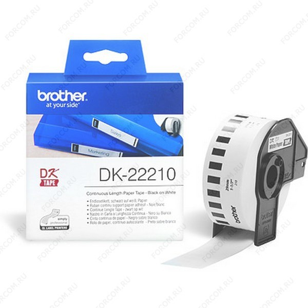 Brother DK22210 Белая бумажная клеящаяся лента Brother DK22210, ширина 29 мм (неразрезанная, рулон 30,48м)