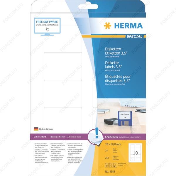 HERMA 4353 Этикетки для Дискет бумажные A4 размер 70.0 x 50.8 круглые углы цвет Белый для печати на струйном или лазерном принтере,