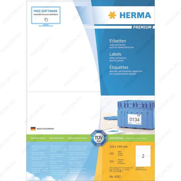 HERMA 4282 Этикетки самоклеющиеся Бумажные А4, 210.0 x 148.0, цвет: Белый, клей: перманентный, для печати на: струйных и лазерных аппаратах, в пачке: 100 листов/200 этикеток