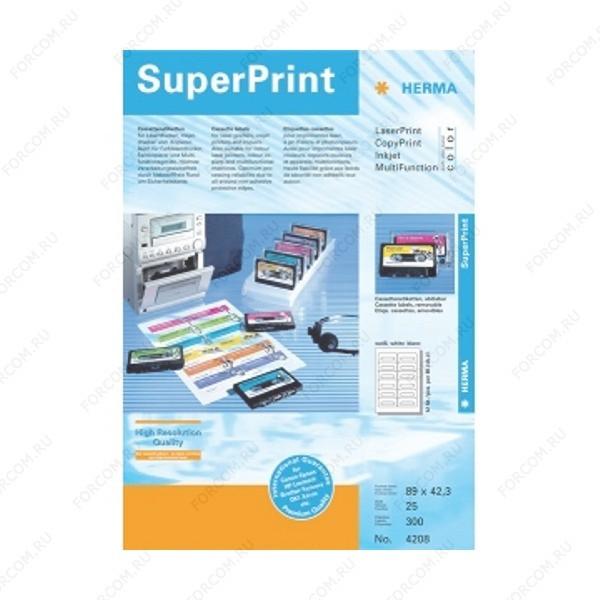 HERMA 4208 Этикетки для Аудиокассет бумажные A4 размер 89.0 x 42.3 цвет Белый для печати на струйном или лазерном принтере, копире